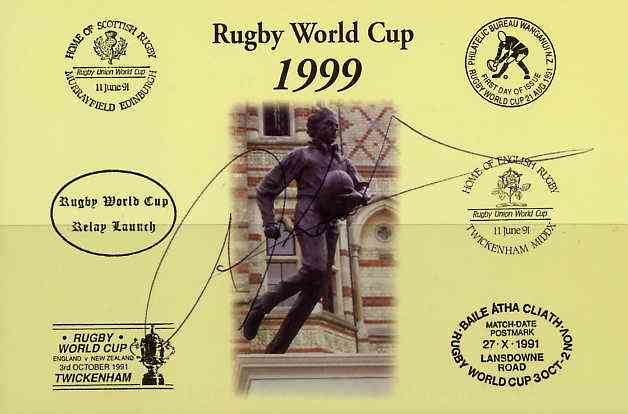 Postcard privately produced in 1999 (coloured) for the Rugby World Cup, signed by Josh Kronfeld (New Zealand - 54 caps & Leicester) unused and pristine