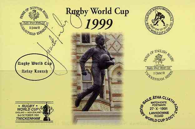 Postcard privately produced in 1999 (coloured) for the Rugby World Cup, signed by Fereti Tuilagi (Samoa - 8 caps & Leicester) unused and pristine