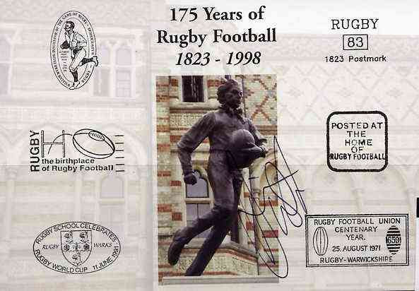 Postcard privately produced in 1998 (coloured) for the 175th Anniversary of Rugby, signed by Dorian West (England - 13 caps & Leicester) unused and pristine