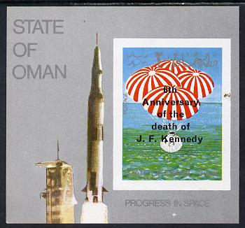 Oman 1969 Progress in Space imperf m/sheet opt'd with 6th Death Anniversary of Kennedy unmounted mint