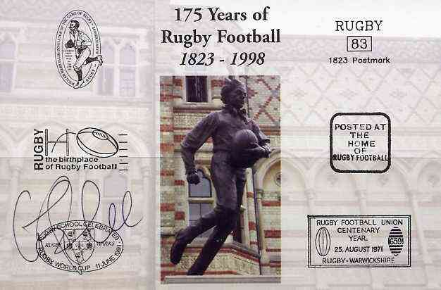 Postcard privately produced in 1998 (coloured) for the 175th Anniversary of Rugby, signed by Graham Rowntree (England - 33 caps & Leicester) unused and pristine
