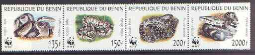 Benin 1999 WWF - Snakes se-tenant strip of 4 unmounted mint