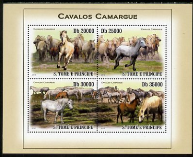 St Thomas & Prince Islands 2010 Camargue Horses perf sheetlet containing 4 values unmounted mint