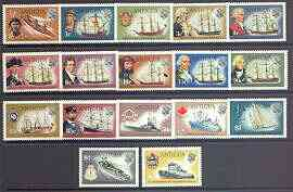 Antigua 1970 Ships & Explorers definitive set complete 17 values unmounted mint, SG 269-85