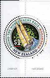 New Zealand 1994 Round The World Yacht race $1 circular stamp unmounted mint, SG 1783