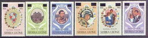 Sierra Leone 1982 surcharged set of 6 unmounted mint, SG 695-700