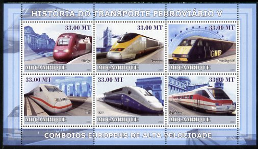 Mozambique 2009 History of Transport - Railways #05 perf sheetlet containing 6 values unmounted mint