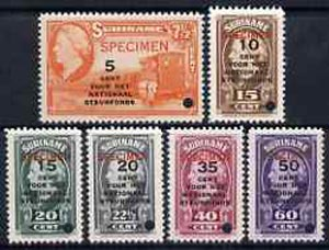 Surinam 1945 Queen Wilhelmina National Welfare set of 6 unmounted mint optd SPECIMEN with tiny security punch hole, Michel 268-73