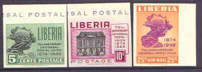 Liberia 1950 75th Anniversary of Universal Postal Union set of 3 imperf unmounted mint as SG 711-13