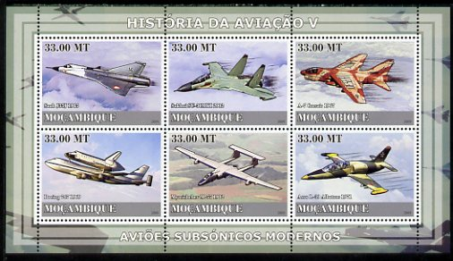 Mozambique 2009 History of Transport - Aviation #05 perf sheetlet containing 6 values unmounted mint
