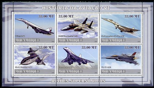 Mozambique 2009 History of Transport - Aviation #06 perf sheetlet containing 6 values unmounted mint