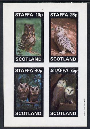 Staffa 1981 Owls #01 imperf set of 4 values (10p to 75p) unmounted mint