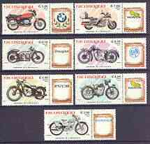 Nicaragua 1985 Centenary of Motorcycle complete perf set of 7 (each se-tenant with label with maker's name) unmounted mint, SG 2666-72