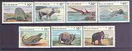 Nicaragua 1987 Prehistoric Animals complete perf set of 7 unmounted mint, SG 2863-69