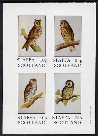 Staffa 1981 Owls #02 imperf set of 4 values (10p to 75p) unmounted mint