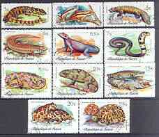 Guinea - Conakry 1977 Reptiles perf set of 11, fine cto used SG 937-47*