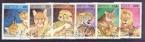 Benin 1995 Wild Cats complete perf set of 6 fine cto used*
