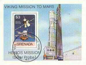 Grenada 1976 Viking & Helios Space Missions perf m/sheet fine cto used, SG MS 832