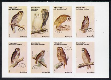 Eynhallow 1974 Owls (Universal Postal Union Centenary) imperf set of 8 values (0.5p to 40p) unmounted mint