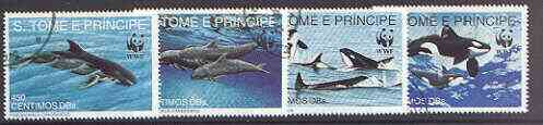 St Thomas & Prince Islands 1992 WWF - Dolphins complete perf set of 4 fine cto used*