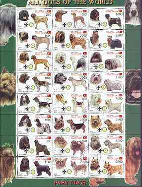 Timor (East) 2000 Dogs #01 perf sheetlet containing 24 values each with Scouts & Rotary Logos fine cto used
