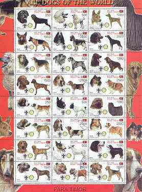 Timor (East) 2000 Dogs #03 perf sheetlet containing 24 values each with Scouts & Rotary Logos fine cto used