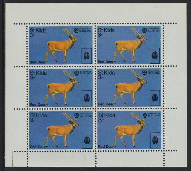 St Kilda 1970 Red Deer 3s complete perf sheetlet of 6 (from Wildlife set) unmounted mint