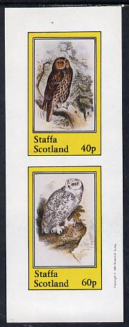 Staffa 1981 Owls #03 imperf set of 2 values (40p & 60p) unmounted mint