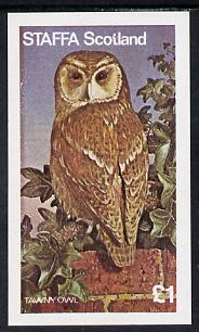 Staffa 1977 Birds of Prey #01 (Tawny Owl) imperf souvenir sheet (�1 value) unmounted mint, stamps on birds, stamps on birds of prey, stamps on owls