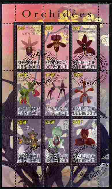Djibouti 2010 Orchids perf sheetlet containing 9 values fine cto used, stamps on flowers, stamps on orchids