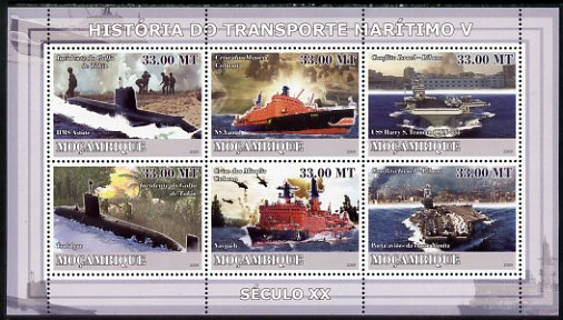 Mozambique 2009 History of Transport - Ships #05 perf sheetlet containing 6 values unmounted mint