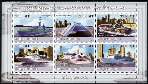 Mozambique 2009 History of Transport - Ships #06 perf sheetlet containing 6 values unmounted mint