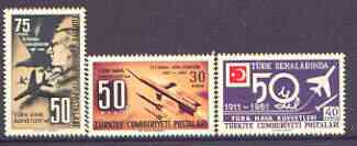 Turkey 1961 50th Anniversary of Air Force set of 3 unmounted mint, SG 1940-42, stamps on aviation, stamps on rockets, stamps on space