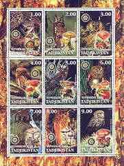 Tadjikistan 2001 Owls & Fungi perf sheetlet containing set of 9 values, each with Rotary Logo, unmounted mint