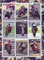 Turkmenistan 2001 Racing Motorcyclists perf sheetlet containing set of 9 values, unmounted mint