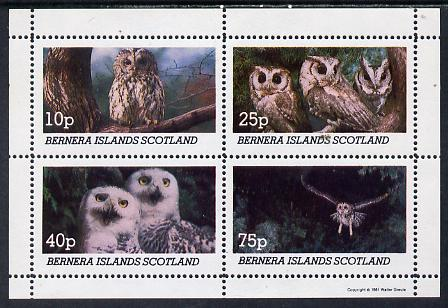 Bernera 1981 Owls perf set of 4 values (10p to 75p) unmounted mint