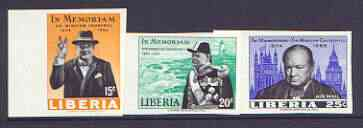 Liberia 1966 Churchill Commemoration imperf set of 3 unmounted mint, SG 924-26