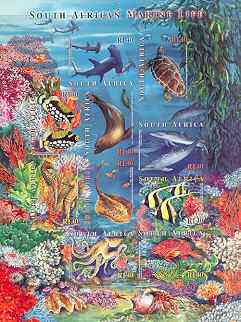 South Africa 2001 Marine Life self-adhesive sheetlet containing 10 values unmounted mint