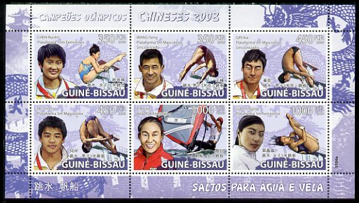 Guinea - Bissau 2009 Beijing Olympics - Diving & Sailing perf sheetlet containing 6 values unmounted mint, Michel 4047-52, stamps on olympics, stamps on diving, stamps on sailing