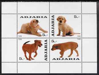 Adjaria 1999 Dogs perf sheetlet containing complete set of 4 unmounted mint