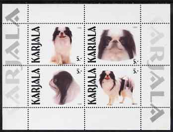 Karjala Republic 1999 Dogs perf sheetlet containing complete set of 4 unmounted mint (Japanese Spitz)