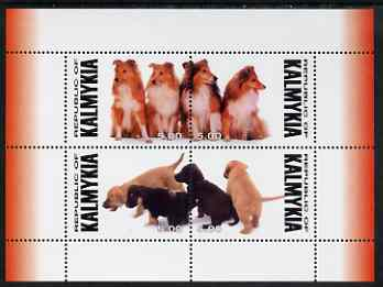 Kalmikia Republic 1999 (?) Dogs perf sheetlet containing complete set of 4 unmounted mint (Collies & Pups)
