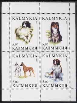 Kalmikia Republic 1998 Dogs #1 perf sheetlet containing complete set of 4 unmounted mint
