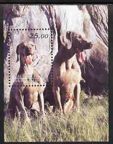 Kalmikia Republic 2001 Dogs perf m/sheet unmounted mint (Weimaraner)