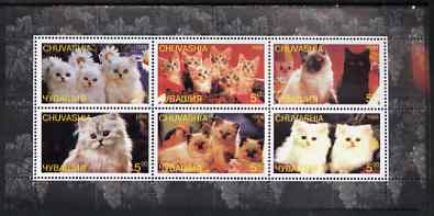 Chuvashia Republic 1998 Domestic cats #2 perf sheetlet containing set of 6 values unmounted mint