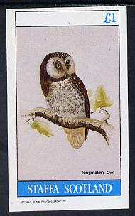 Staffa 1982 Owls (Tengmalms Owl) imperf souvenir sheet (�1 value) unmounted mint