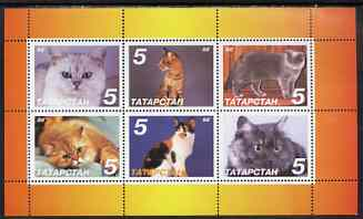 Tatarstan Republic 1998 Domestic cats perf sheetlet containing set of 6 values unmounted mint