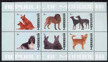 Mordovia Republic 1999 Dogs #1 perf sheetlet containing set of 6 values unmounted mint (pale blue background)