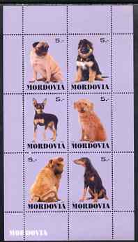 Mordovia Republic 1999 Dogs #2 perf sheetlet containing set of 6 values unmounted mint (violet background)
