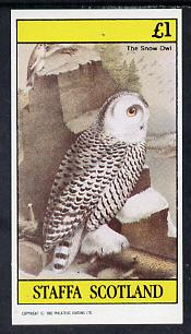 Staffa 1982 Birds #49 (Snow Owl) imperf souvenir sheet (�1 value) unmounted mint